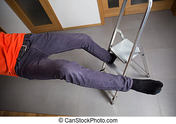 Careless man - View from the top of careless man falling...