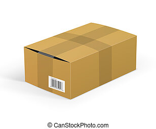 package - Carelessly packed cardboard box package isolated...