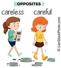 carelss, försiktig, ord, motsats