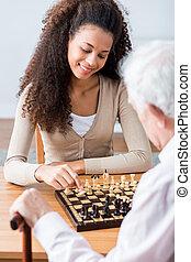 carer, äldre, ung, schack, leka, man