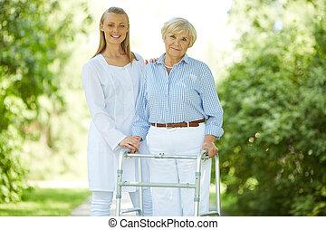 carer, és, idősebb ember, női