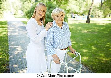 carer, et, personne agee, femme