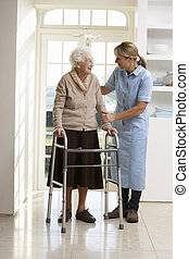 carer, portion, äldre, senior woman, användande, gående inrama