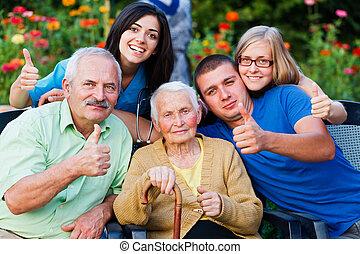 carer, uppe, familj, tummar