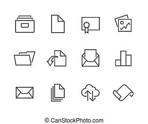 caressé, document, icône, ensemble