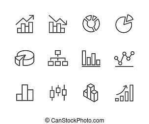 caressé, graphique, et, diagramme, icône, set.