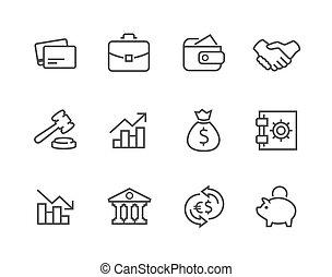 caressé, icônes financières, set.