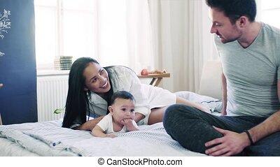 caresser, affectueux, couple, jeune, bed., intérieur, bébé