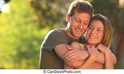 caresser, couple, amour