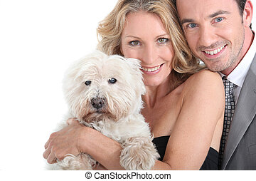 caresser, dog., couple