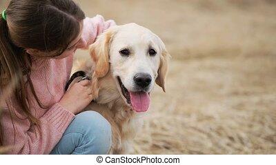 caresser, girl, mignon, adorable, chien