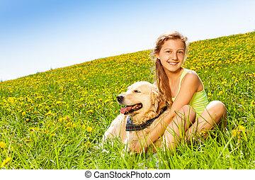 caresser, mignon, été, chien, girl, heureux