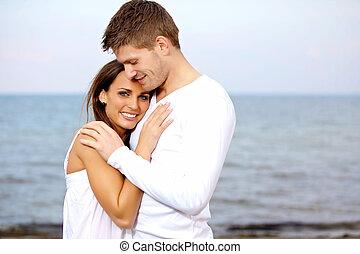 caresser, regarder, couple, plage, heureux