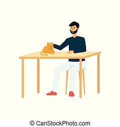 caresser, séance, cat., dormir, table, dessin animé, homme