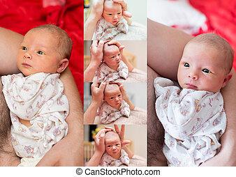 caresser, usage, concept, amour, hand's, collage, home., père, il, nouveau né, parenting, dorlotez fille, enfant, ou
