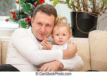 caresser, usage, concept, amour, home., père, il, parenting, dorlotez fille, enfant, ou, heureux