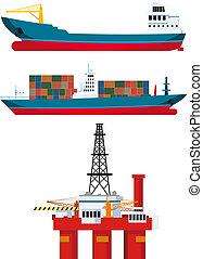 carga, óleo, navios, plataforma