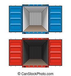 carga, abierto, contenedores, envío