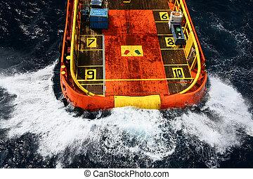 carga, aceite, transferencia, barco, suministro