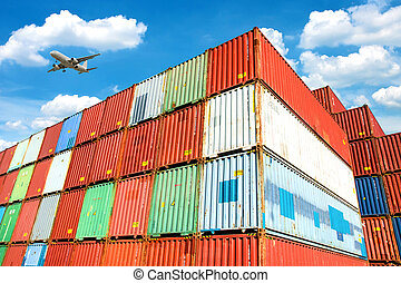 carga, apilado, containers.