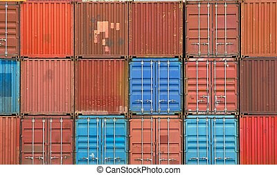 carga, apilado, contenedores