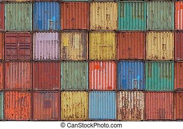 carga, astillero, contenedores
