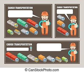 carga, automóvel, transportation.