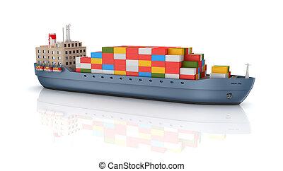 carga, barco, contenedor