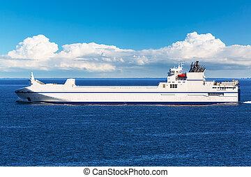 carga, barco,  industrial, mar, grande