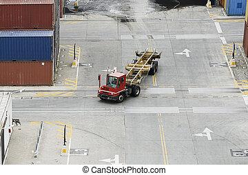 carga, camión, contenedores