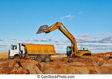 carga, camión, dumper, excavador