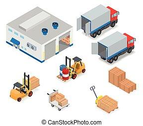 carga, camión, o, descargar, warehouse.