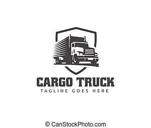 carga, camiones, carro de entrega, logístico, logotipo,...