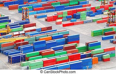 carga, carga, contenedores, en, mar, port.