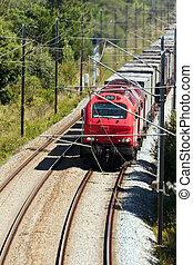 carga, carros,  portugal, algunos, tren, carga, paso