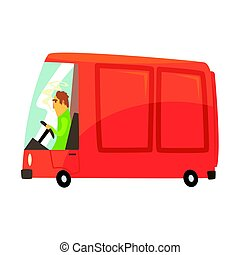 carga, comercial, ilustração, caricatura, vetorial, transporte, furgão, vermelho