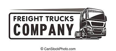 carga, companhia frete, caminhão, modelo, logotipo