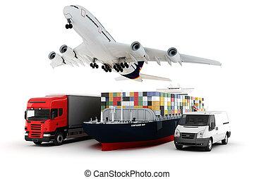 carga, conceito, largo, mundo, transporte, 3d