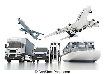 carga, concepto, de par en par, mundo, transporte, 3d