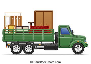 carga, concepto, transporte, Ilustración, entrega, camión, muebles