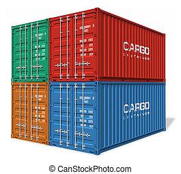 carga, conjunto, contenedores