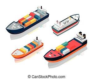 carga, conjunto, marítimo, barcos, alimentador, vector,...