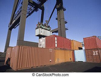 carga, contenedores, en, muelle