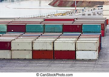 carga, contenedores, por, canal