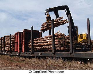 carga, corte, railcar, árboles