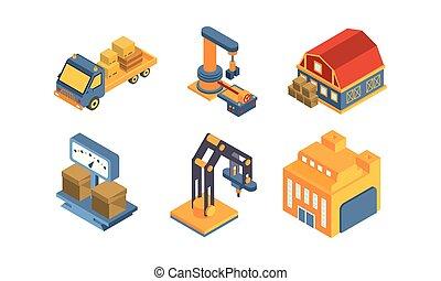 carga, despacho, serviço, ilustração, entrega, vetorial, equipamento, fundo, armazém, branca, transporte
