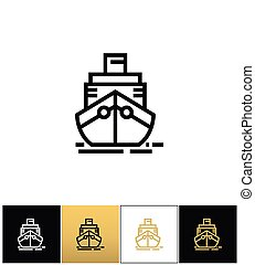 carga, despacho, sinal, vetorial, navio cruzeiro, ou, ícone