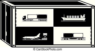 carga, diferente, contenedor, transportations