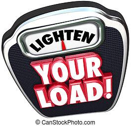 carga, escala, lighten, reduzir, carga trabalho, palavras,...