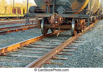 carga, estación, tren, carros